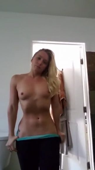 Lovely blonde sends long distance bf a kiss and her Snapchat nudes