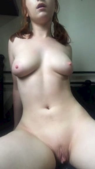 Horny girl with sexy tits practices riding cock naked on Snapchat