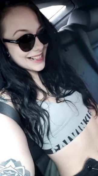 Naughty black haired Snapchat teen fingers her pussy