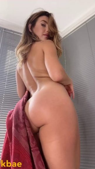 Hot brit fitness model gets naked on Snapchat to show gorgeous ass by the windows